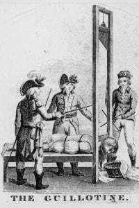Un'esecuzione alla ghigliottina durante la Rivoluzione francese, nel 1793