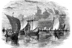 Illustrazione di navi vichinghe