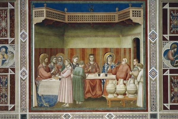 """""""Le nozze di Cana"""", 1306, Giotto, Cappella degli Scrovegni"""