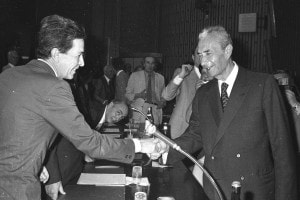 Enrico Berlinguer (a sinistra) con Aldo Moro (a destra)