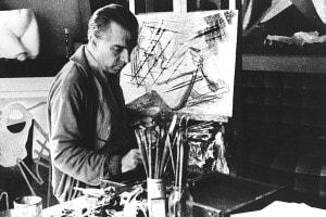 Enrico Prampolini nel suo studio, uno dei pittori della seconda generazione del Futurismo