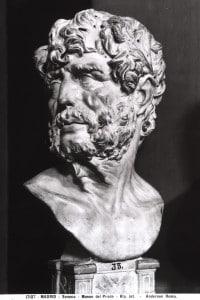 Scultura raffigurante la testa del filosofo Seneca; opera conservata nella Galleria del Prado a Madrid