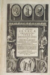 Prima pagina dell'opera omnia di Seneca edita da Justo Lipsius e pubblicata nel 1652