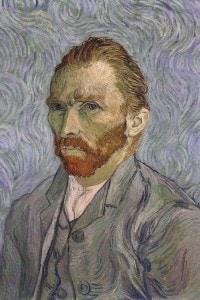 Vincent Van Gogh: autoritratto. Secondo alcuni critici, le pennellate circolari sullo sfondo testimoniano la perdita di orientamento dovuta alle sue frequenti crisi nervose.
