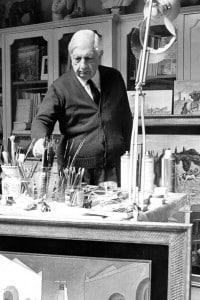 Giorgio de Chirico nel suo studio a Roma, il 25.04.1974