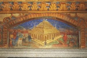 Raffigurazione del Mausoleo di Alicarnasso, tra le sette meraviglie del mondo antico