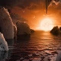 Rappresentazione di come potrebbe apparire il paesaggio stando sul pianeta Trappist-1-F