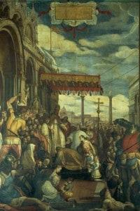 Dipinto di Federico Zuccari: Federico Barbarossa che rende i suoi pubblici omaggi a Alessandro III
