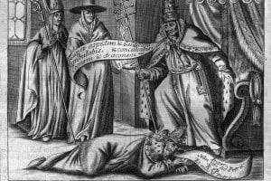 Papa Alessandro III che pesta il collo di Federico Barbarossa, dopo averlo sconfitto