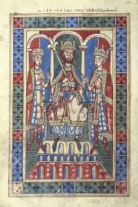 Federico Barbarossa con suo figlio Enrico VI e Federico duca di Svevia