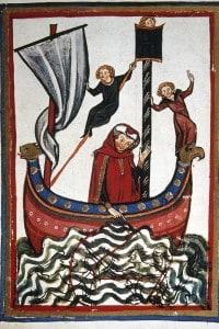 Miniatura raffigurante il viaggio di Federico Barbarossa verso la terza crociata, nel quale egli morirà