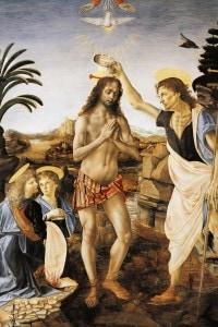 """""""Battesimo di Cristo"""" 1475-1478, di Andrea del Verrocchio, Leonardo da Vinci e altri pittori della bottega"""