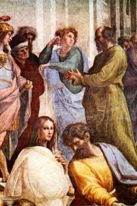 """Particolare della """"Scuola di Atene"""" di Raffaello raffigurante Socrate (in piedi) con il volto faunesco"""