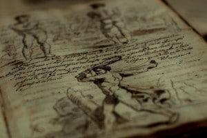 """Immagine di una pagina del """"Trattato della pittura"""", manoscritto del XVI secolo."""