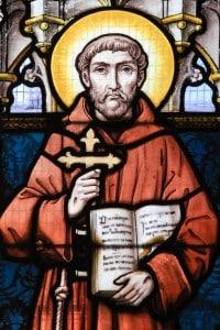 Ritratto su vetro di San Francesco d'Assisi