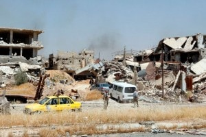 Palazzi distrutti nella periferia di Damasco