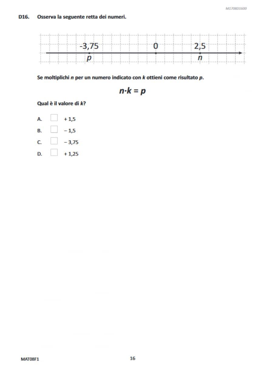 Domande matematica Invalsi terza media 2017
