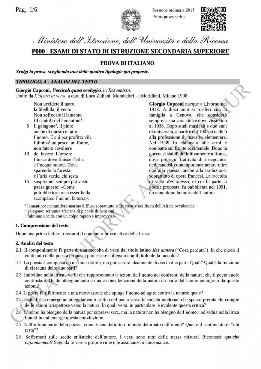 Tipologia A - analisi del testo