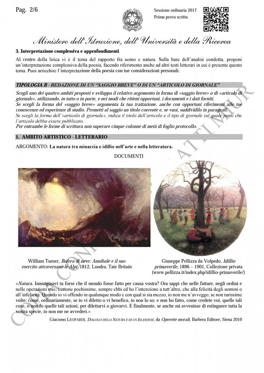 Tipologia B - Saggio breve ambito artistico-letterario
