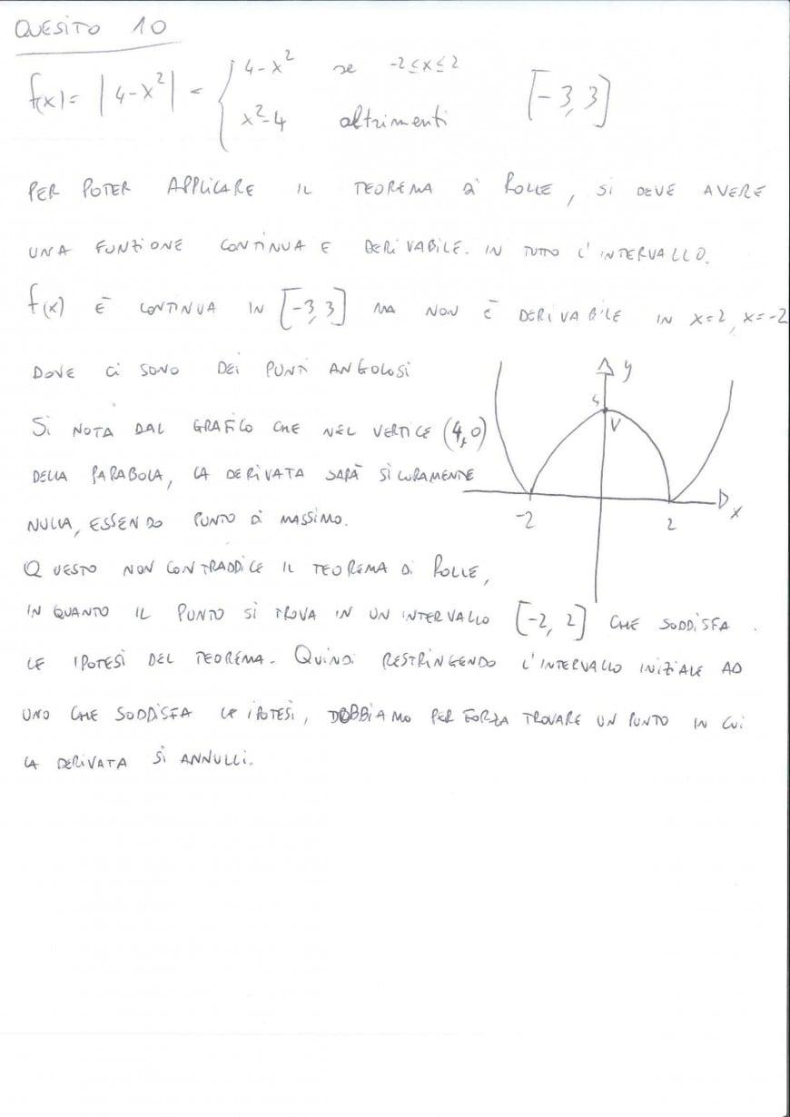 Foto seconda prova matematica 2017: soluzione quesito 10