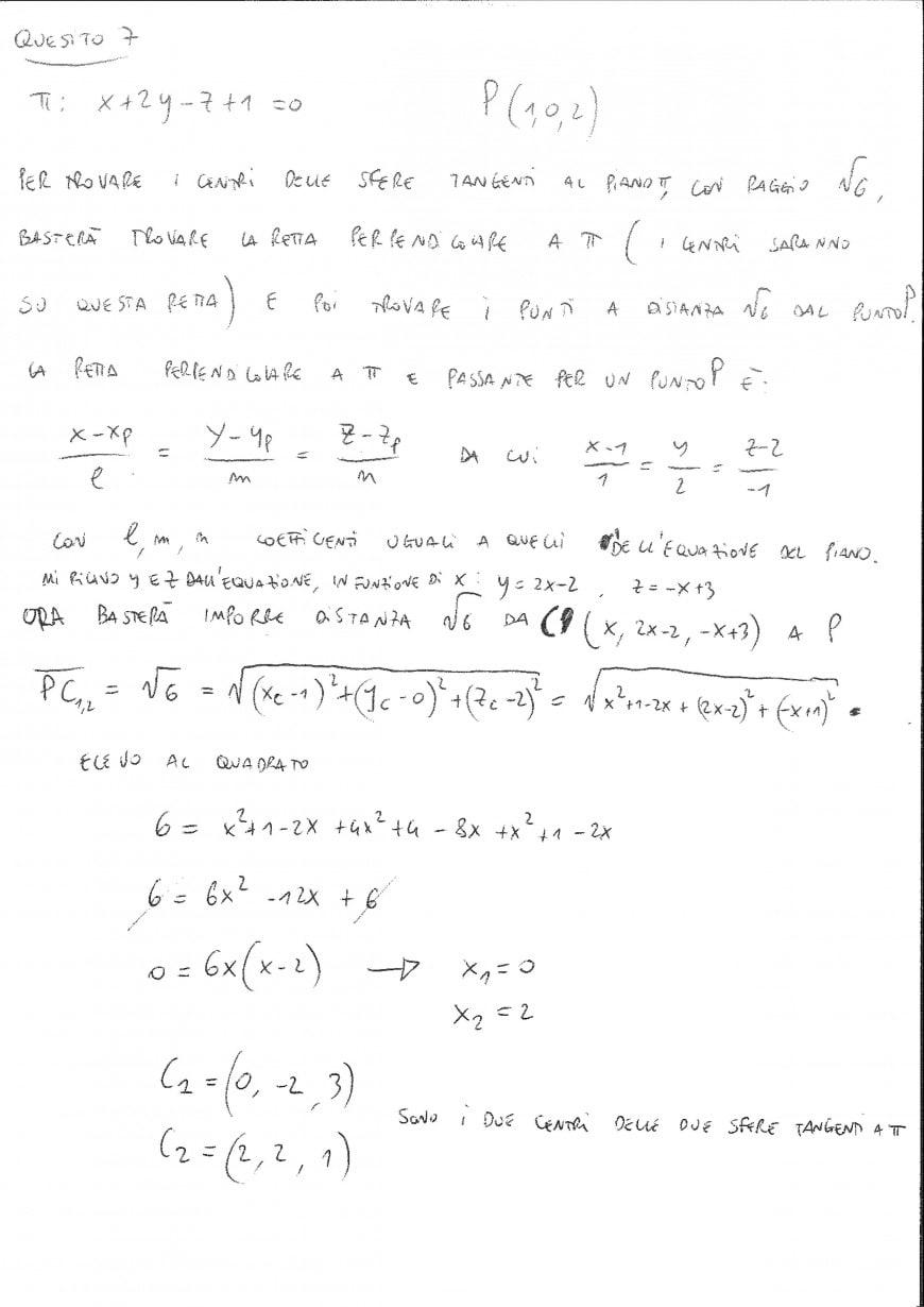 Foto seconda prova matematica 2017: soluzione quesito 7