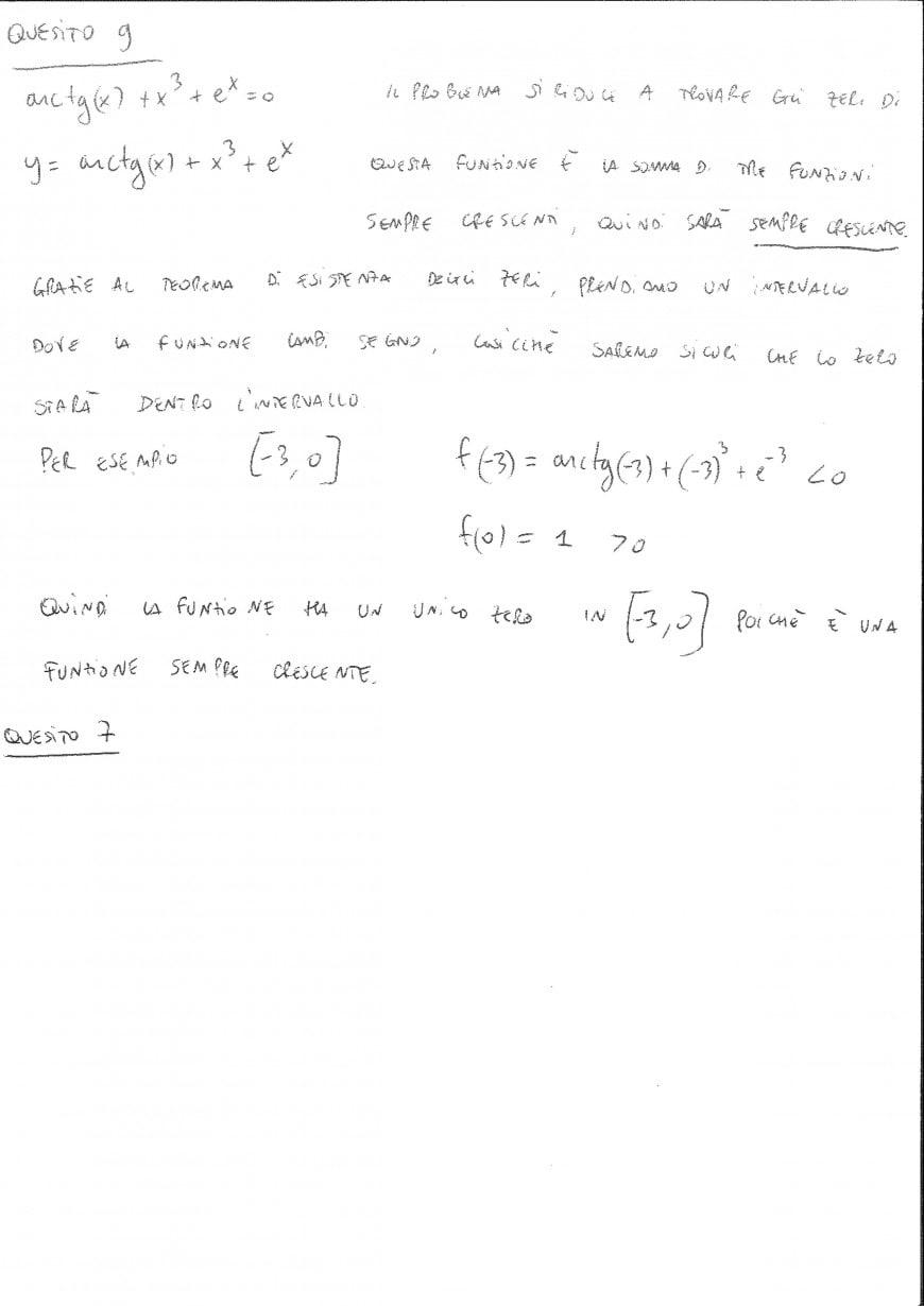 Foto seconda prova matematica 2017: soluzione quesito 9