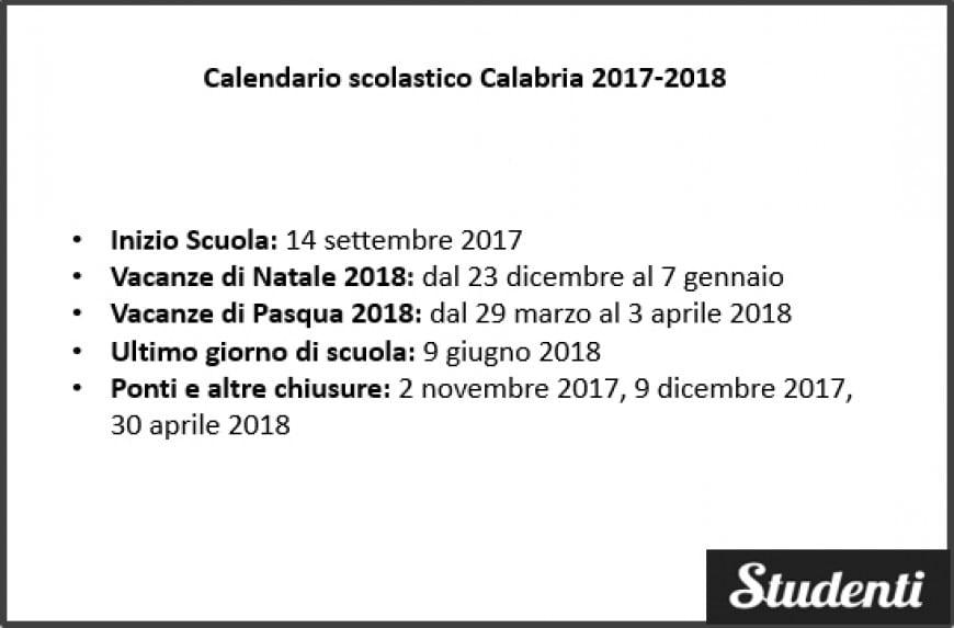 Calendario scolastico Calabria 2017-2018