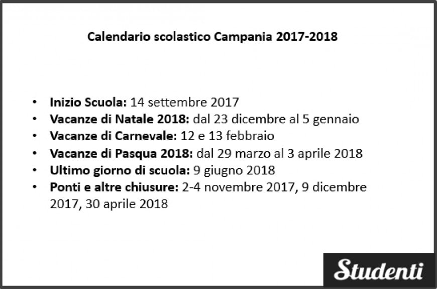 Calendario scolastico Campania 2017-2018
