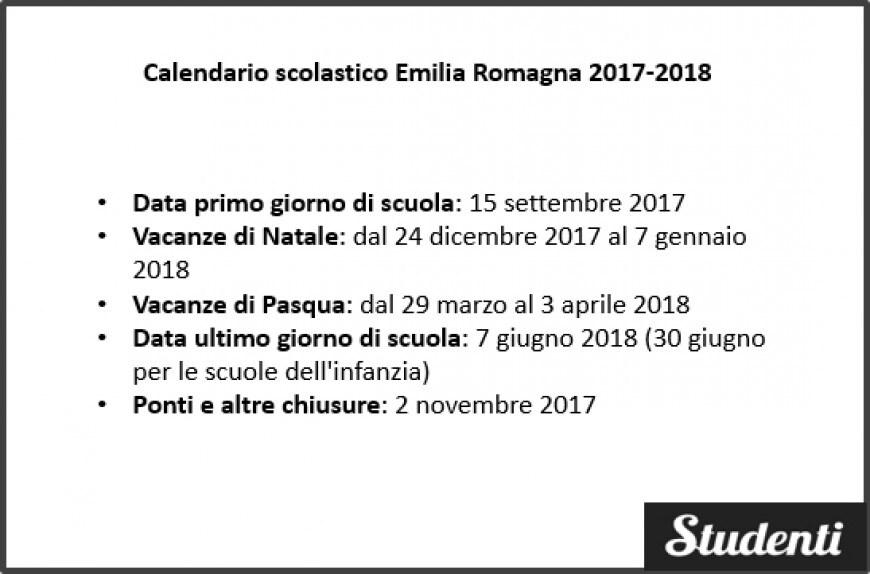 Calendario scolastico Emilia Romagna 2017-2018
