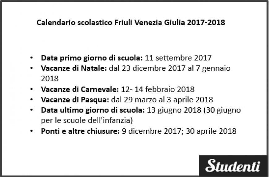 Calendario Scolastico Friuli Venezia Giulia.Calendario Scolastico Friuli Venezia Giulia 2017 2018