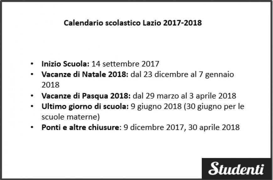 Calendario scolastico Lazio 2017-2018