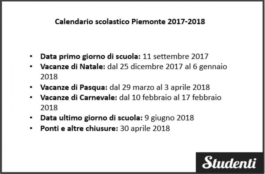 Piemonte Calendario Scolastico.Calendario Scolastico Piemonte 2017 2018 Calendario