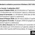 Calendario scolastico provincia di Bolzano 2017-2018