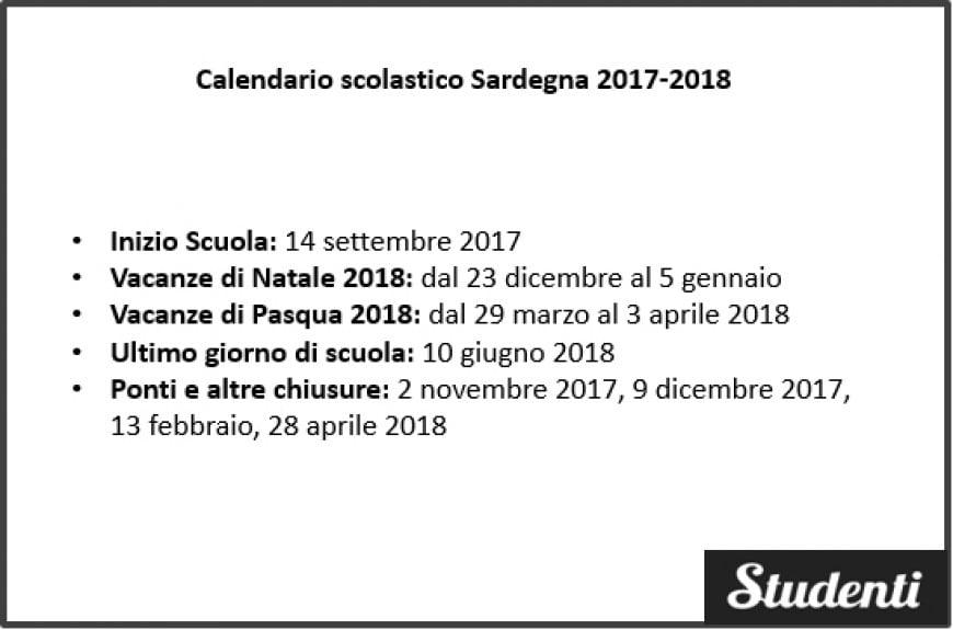 Calendario scolastico Sardegna 2017-2018