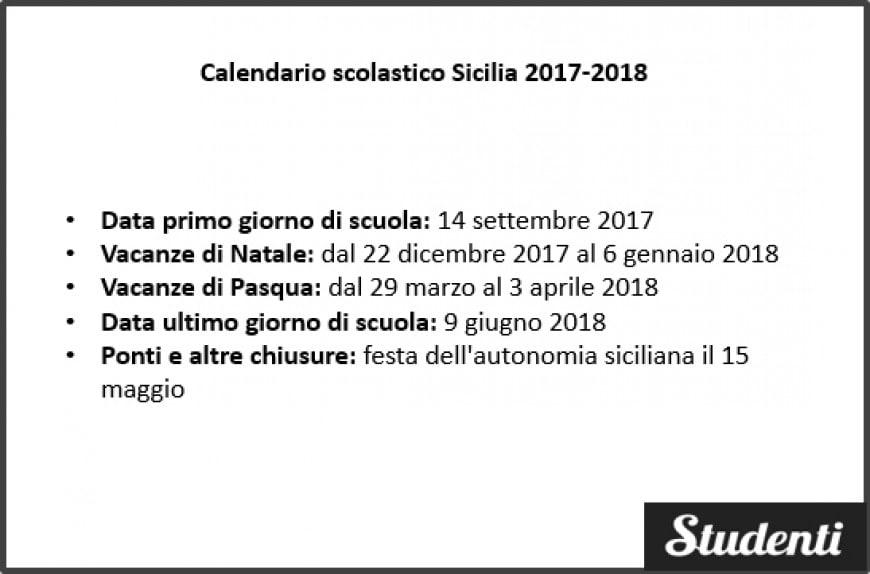Calendario scolastico Sicilia 2017-2018