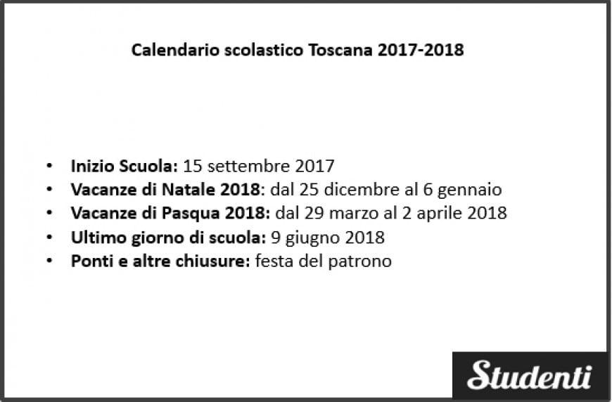 Calendario scolastico Toscana 2017-2018