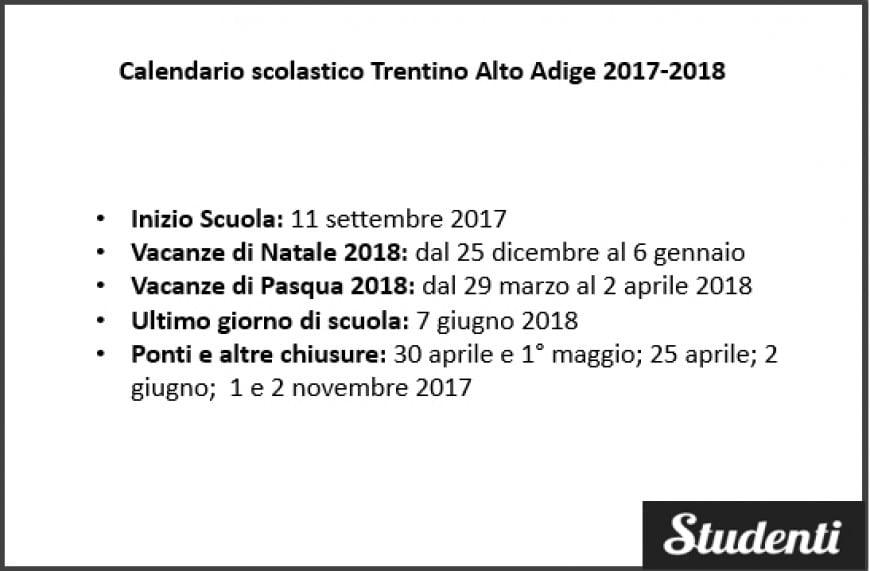 Calendario scolastico Trentino Alto Adige 2017-2018