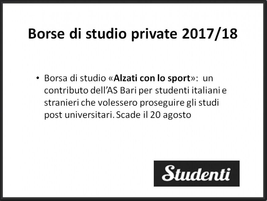 """Borsa di studio 2017 AS Bari """"Alzati con lo sport"""", per studenti che vogliono continuare a studiare dopo le lauree inerenti allo sport"""