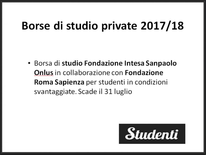 Borsa di studio della Fondazione Intesa Sanpaolo Onlus e della Fondazione Roma Sapienza