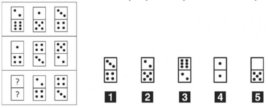 Individuare, tra le tessere proposte, quella che completa la successione nella terza riga.