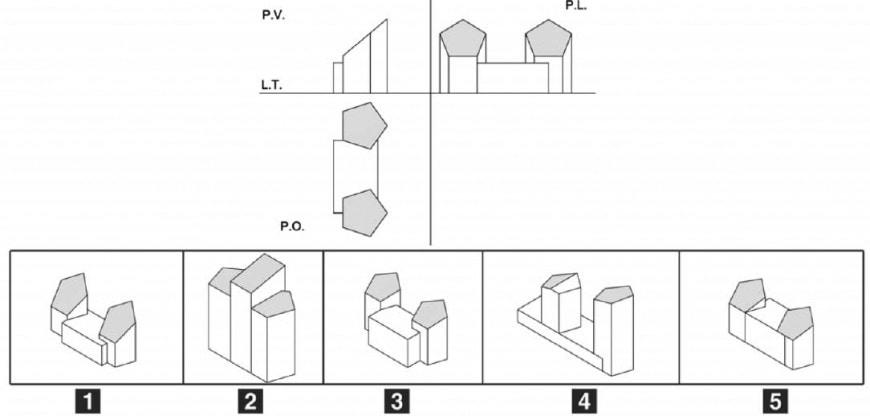 Dato il disegno in proiezione ortogonale, individuare l'assonometria corrispondente.