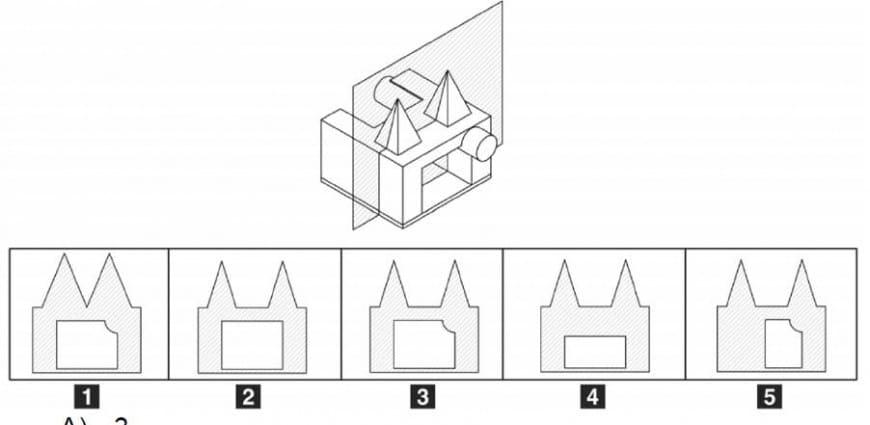 Facendo riferimento al piano che seziona l'insieme di solidi rappresentati, qual è la sezione corretta?
