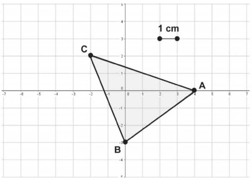 Quanto misura l'area del triangolo ABC di figura?