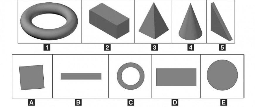 Abbinare ogni solido alla corrispondente figura piana.
