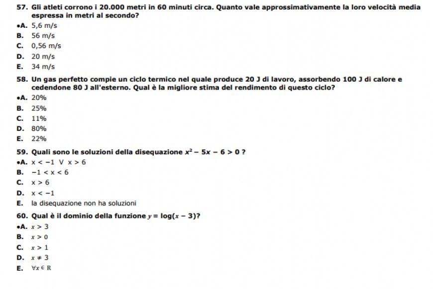 Soluzioni del test Professioni Sanitarie 2017 dell'Università di Foggia, domande di fisica e matematica
