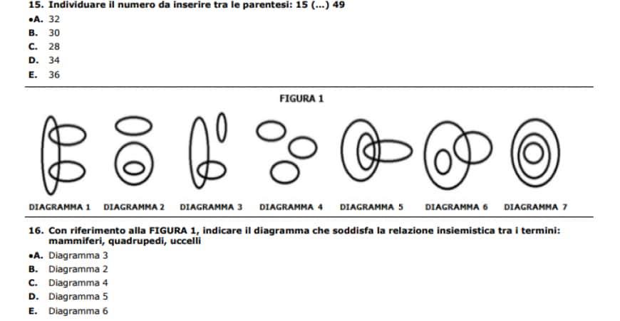 Soluzioni del test Professioni Sanitarie 2017 dell'Università di Foggia, domande di ragionamento logico