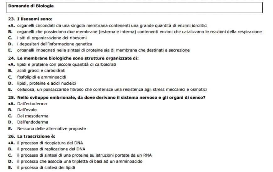 Soluzioni del test Professioni Sanitarie 2017 dell'Università di Foggia, domande di biologia