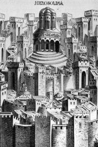 Gerusalemme nel 1.500: fortificata con, al centro, il tempio di Salomone