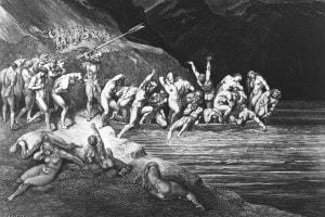 Stampa di Gustave Dore in cui vengono rappresentati i dannati del canto III
