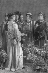 1455, scena tratta dall'Enrico VI di Shakespeare: i Conti di Somerset, Suffolk e Warwick e Riccardo Plantageneto scelgono le rose: rossa per il Lancashire, bianca per lo York